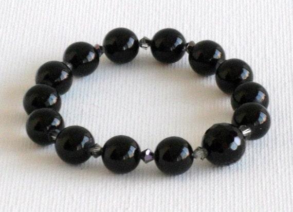 Mila Black Sodalite & Swarovski Beaded Bracelet