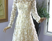 Vintage 60s Ivory Satin w White Sheer Floral Cut work Flocked Lace Wedding Formal Garden  Beach Dress