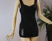Vintage 50s Bathing Swim Suit Carol Brent Sexy Black Embroidered Flowers Bomshell Marilyn Beach Party Metal Zipper