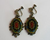 Vintage 50s Dangle Earrings Mosaic Black Glass Colorful Floral Design Screw Backs
