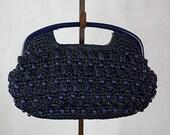 Vintage 60s Clutch Purse Navy Straw w Plastic Beads Cotton Paisley Interior