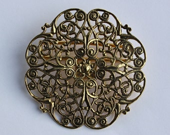 Vintage 70s  Buckle 1928 Jewlery  Fancy Goldtone Filigree Belt Buckle