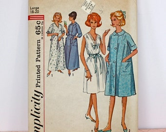 Vintage 60s NightGown Robe Simplicity Pattern no 5001 Size Large 18 20