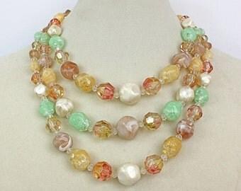Vintage 50s Choker Necklace Coro 3 Strand Mint Green Pink Graduating Plastic Beads