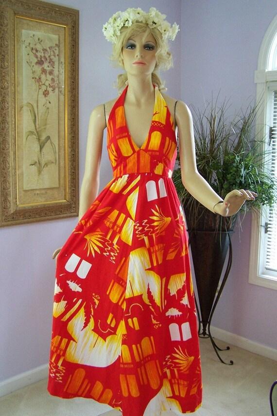 Vintage Hawaiian Wedding Set Red Floral Halter Dress W