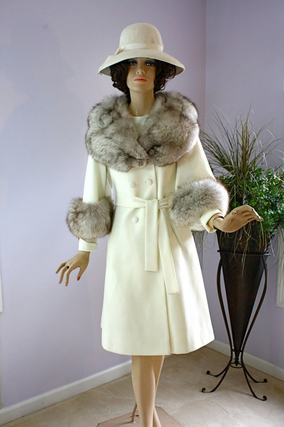 Vintage 60s Lilli Ann Coat and Dress Set Winter White w Fox Fur Collar Cuffs