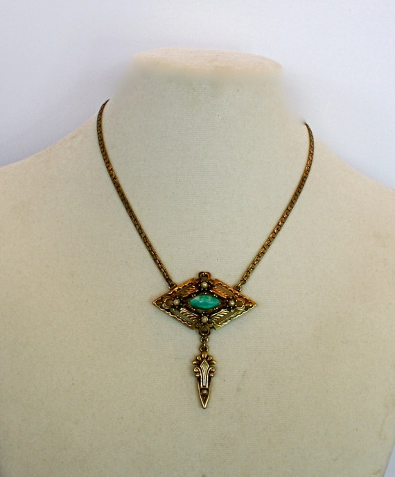 Vintage 60s Pendant Necklace Victorian Revival Gold Pendant w Turquoise and Pearls