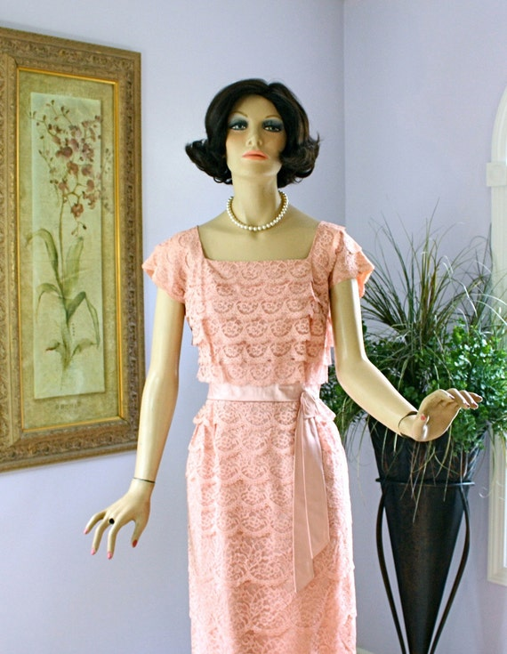 Vintage 50s Formal Dress Dubarry Pink Lace Wiggle Cocktail Party Dress