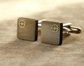 SALE Square Brass Steampunk Bronze and Gray Classy Cuff Links