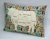 Cow Meat Chart Decorative Pillow (Ivory/Burgandy)