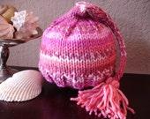 Pink and pinker pixie elf baby hat prop