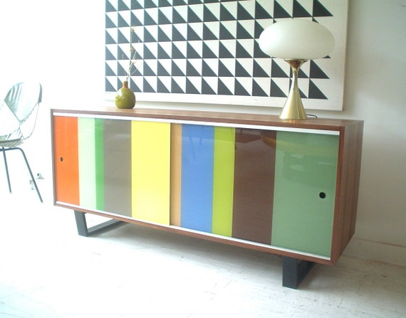 5ft Modern walnut Lucite storage credenza