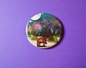 Alone Pocket Mirror - Illustrated Brown Bear - Gift for Women - Birthday Present Idea - Grizzly Bear - Gift for Animal Lovers