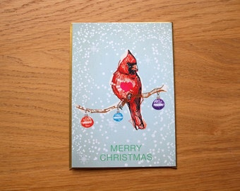 Cardinal Christmas Card - Blank Christmas Card - Card for bird lovers - Illustrated Christmas Card