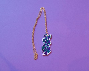 Geometric Green and Purple Necklace - Contemporary - Shapes - Triangular - Handmade Jewellery