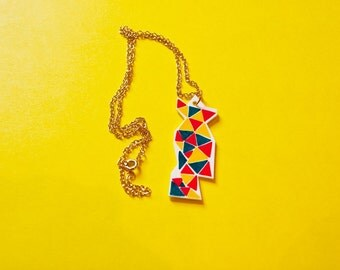 Orange Red Green Geometric Necklace -Accessories - Small Gift - Gift for All- Jewellery