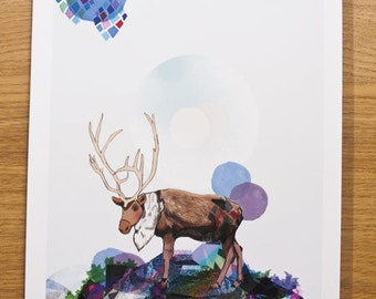 Where We Belong Limited Edition A4 Fine Art Print - Elk Artwork - Gift for Nature Lovers - Illustrated Print -Home