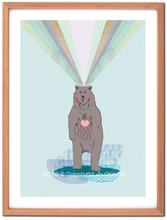 Lonely Bear Fine Art Print- Gift for Nature Lovers - Illustrated Bear Artwork - Birthday Present - Wall Art - Home