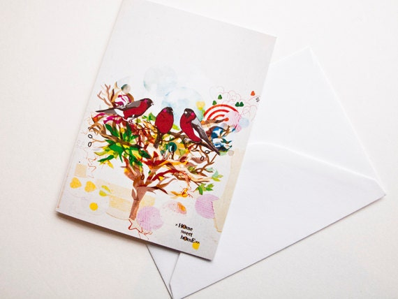 Three Red Birds Card - Blank Card - Card for All Occasions - Birthdays - Get Well - Sorry - Moving Card