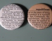 Republican Conservative Vintage Dictionary Pin Set