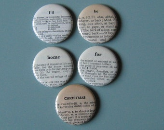 I'll Be Home For Christmas Vintage Dictionary Magnet Set of 5