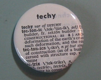 Techy Vintage Dictionary Pin