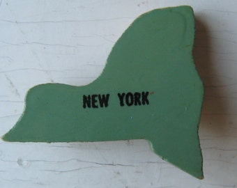 SALE New York Vintage Wooden Puzzle Pin