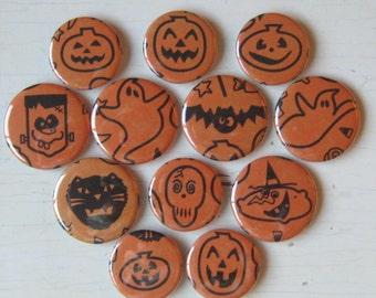 SALE-Halloween Vintage Tissue Paper Magnet Set of 12