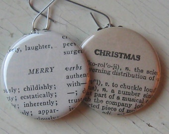 Merry Christmas Vintage Dictionary Ornament Set of 2