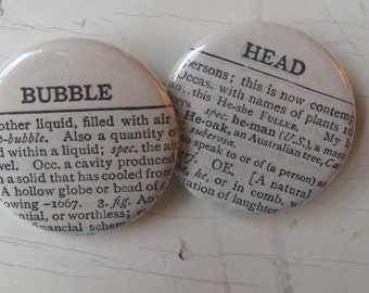 Bubble Head Vintage Dictionary Pin Set of 2