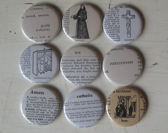 Catholic Inspired Vintage Dictionary and Thesaurus Magnet Set of 9