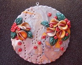 PCP4421 - CITRINE LILIES - Polymer Clay Pendant
