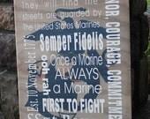Marine corp wooden sign, custom sign, subway art, great gift