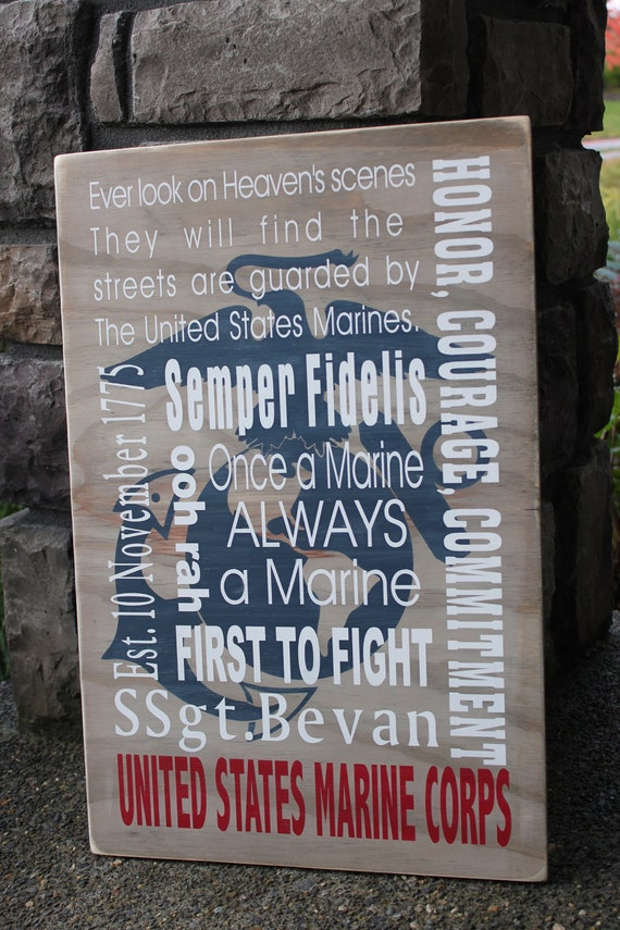 Marine corp wooden sign, custom sign, subway art, great gift