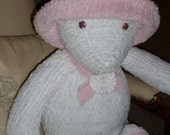 Adorable white and pink chenille teddy bear with removeable hat