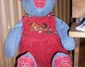 Denim and Red Plaid Teddy Bear