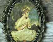 Vintage Fabric Girl Picture in Brass Oval Frame