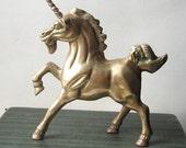 Vintage Woodland Decor Brass Unicorn