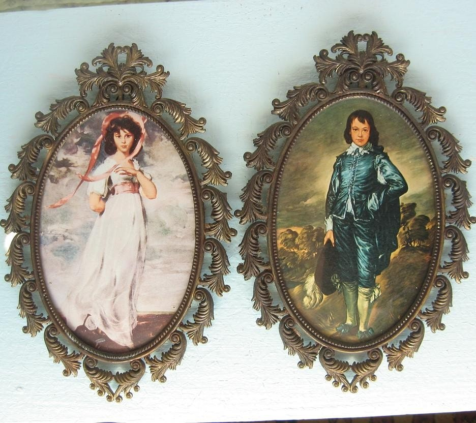 Vintage Set Of Pinkie And Blue Boy Pictures In Brass Italy
