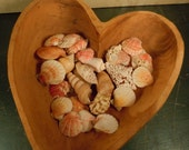 Wonderful Large Single Piece Carved Wooden Heart Shape Bowl