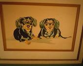 Framed Large Vintage Black Daschund Gouache Painting