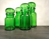 Set of Four Vintage Green Belgian Apothecary Jars
