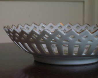 Vintage Cutwork  Porcelain Dish -- Germany
