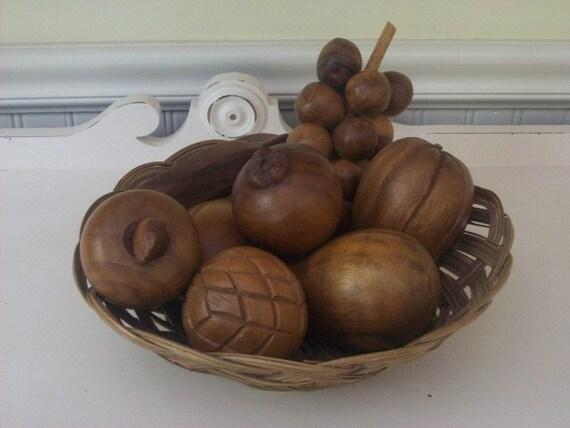 Carved wood fruit