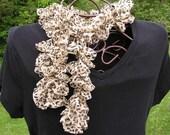 Crocheted Fabric Ruffled Scarf - Jaguar Print