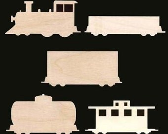 5 Pc Train Collection Unfinished Craft Wood Shape 1357