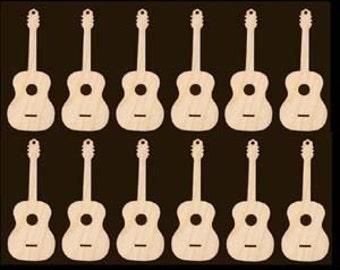 Guitar Shape Ornaments Natural Craft Wood Cutouts 566