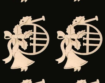 6 French Horn Music Instrument Ornaments 3 1/2 inches tall Natural Craft Wood Cutout 838-3.5