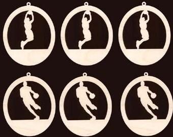 6 Pc Basketball Player Assortment Ornament Craft Wood 951-4ND