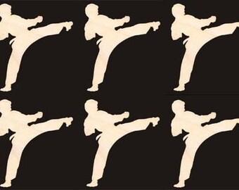 Male Karate Figure Natural Craft Wood Cutout 1264